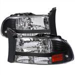 Spec-D Tuning Dodge Durango Black Headlight; 1998-2003