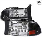 Spec-D Tuning Dodge Dakota Black Headlight With Led; 1997-2004