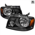 Spec-D Tuning Ford F150 Crystal Housing Headlights Black; 2004-2008