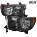 Spec-D Tuning Toyota Tundra Crystal Housing Headlights Black; 2007-2014