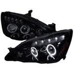 Spec-D Tuning Honda Accord Smoked Lens Gloss Black Housing Projector Headlights; 2003-2007