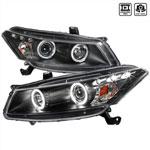 Spec-D Tuning Honda Accord Halo Projector Headlight Black Housing; 2008-2012