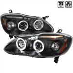 Spec-D Corolla Halo Projector Headlights; 2003-2007