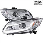 Spec-D Tuning Honda Civic R8 Style Led Projector Headlight Chrome; 2012-2016