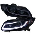 Spec-D Tuning Honda Civic R8 Style Led Projector Headlight Gloss Black Housing Smoke Lens; 2012-2016