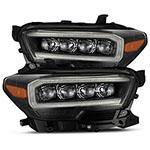 AlphaRex Toyota Tacoma NOVA LED Projector Headlights Plank Style Black w/Activation Light; 2016-2020