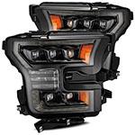 AlphaRex Ford Raptor NOVA LED Proj Headlights Plank Style Alpha Black w/Activ Light/Seq Signal; 2017-2020