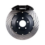 StopTech Infiniti G35 Big Brake Kit ST-22 Black Calipers & 2-Piece No Coating Drilled Rotors, Rear; 2005-2008