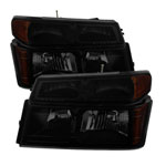 Xtune Chevy Colorado 04-12 OEM Headlights w/ Bumper Lights Black Smoked HD-JH-CCOL04-SET-BSM; 2004-2012