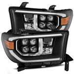 AlphaRex Toyota Sequoia NOVA LED Projector Headlights Plank Style Black w/Activation Light; 2008-2013