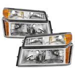 Xtune Chevy Colorado 04-12 OEM Headlights w/ Bumper Lights Chrome HD-JH-CCOL04-SET-C; 2004-2012