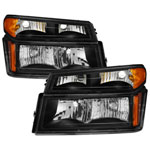 Xtune Chevy Colorado 04-12 OEM Headlights w/ Bumper Lights Black HD-JH-CCOL04-SET-BK; 2004-2012