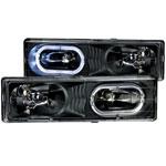 ANZO USA Chevrolet Suburban Crystal Headlights Black W/ Halo; 1992-1999