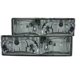 ANZO USA Chevrolet Suburban Crystal Headlights W/ Smoke Lens; 1992-1999