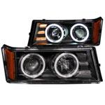 ANZO USA Chevrolet Colorado Projector Headlights W/ Halo Black; 2004-2012