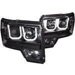 ANZO USA Ford Raptor Projector Headlights W/ U-Bar Black; 2009-2014