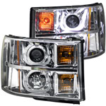ANZO USA GMC Sierra Hd Projector Headlights W/ U-Bar Chrome; 2007-2014