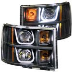 ANZO USA GMC Sierra Hd Projector Headlights W/ U-Bar Black; 2007-2014
