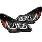 ANZO USA Subaru Legacy Projector Headlights W/ U-Bar Black; 2010-2014