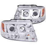 ANZO USA Lincoln Mark Lt Projector Headlights W/ U-Bar Chrome; 2006-2008
