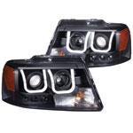 ANZO USA Lincoln Mark Lt Projector Headlights W/ U-Bar Black; 2006-2008