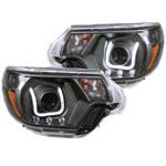 ANZO USA Toyota Tacoma Projector Headlights W/ U-Bar Black; 2012-2015