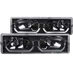 ANZO USA Chevrolet Suburban Crystal Headlights Black W/ Low - Brow; 1992-1999