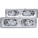 ANZO USA Chevrolet Suburban Crystal Headlights Chrome W/ Low - Brow; 1992-1999