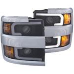 ANZO USA Chevrolet Silverado Hd Projector Headlights W/ Plank Style Design Black W/ Amber; 2015-2017