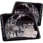 ANZO USA Toyota Tacoma Crystal Headlights Black; 1997-2000
