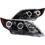 ANZO USA Toyota Camry Projector Headlights W/ Halo Black; 2007-2009