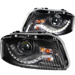 ANZO USA Audi A3 Projector Headlights Black (R8 Led Style); 2006-2008