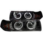 ANZO USA Bmw 3 Series E36 4dr Projector Headlights W/ Halo Black G2 1 Pc; 1992-1998