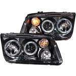 ANZO USA Volkswagen Jetta Mk4 Projector Headlights W/ Halo Black (Ccfl); 1999-2005
