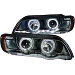 ANZO USA Bmw X5 E53 Projector Headlights W/ Halo Black; 2000-2003