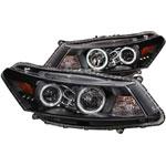 ANZO USA Honda Accord 2dr Projector Headlights W/ Halo Black (Ccfl); 2008-2012