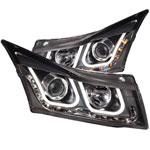 ANZO USA Chevrolet Cruze Projector Headlights W/ U-Bar Black; 2011-2015
