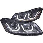 ANZO USA Honda Accord 4dr Projector Headlights W/ U-Bar Black; 2008-2012