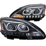 ANZO USA Nissan Sentra Projector Headlights W/ U-Bar Black; 2013-2015