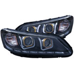 ANZO USA Honda Accord 4dr Projector Headlights W/ U-Bar Black; 2013-2015