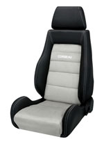 Corbeau GTS II Reclining Seat in Black Leather/ Grey Microsuede