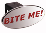 Defenderworx Bite Me - Red - Oval - 2 Inch Billet Hitch Cover