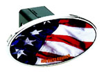 Defenderworx American Flag - Image Line - Oval - 2 Inch Billet Hitch Cover
