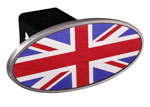 Defenderworx British Flag - Image Line - Oval - 2 Inch Billet Hitch Cover