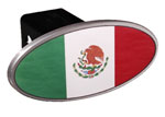 Defenderworx Mexican Flag - Image Line - Oval - 2 Inch Billet Hitch Cover