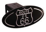 Defenderworx Route 66 - Black - Oval - 2 Inch Billet Hitch Cover