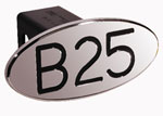 Defenderworx B25 - Black - Oval - 2 Inch Billet Hitch Cover