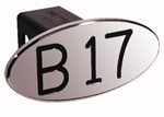 Defenderworx B17 - Black - Oval - 2 Inch Billet Hitch Cover