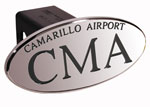 Defenderworx CMA Camarillo Airport - Black - Oval - 2 Inch Billet Hitch Cover
