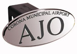 Defenderworx AJO Corna Municipal Airport - Black - Oval - 2 Inch Billet Hitch Cover
